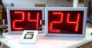 Set of basketball shot clocks and console 24/14 sec