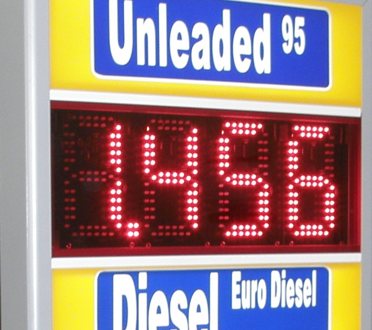 Mixed LED gas prices with lighting print