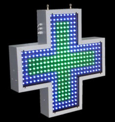 LED Pharmacy Cross - Dοuble Color